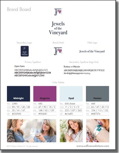 jewels of the vineyard brand board