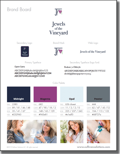 jewels of the vineyard brand board