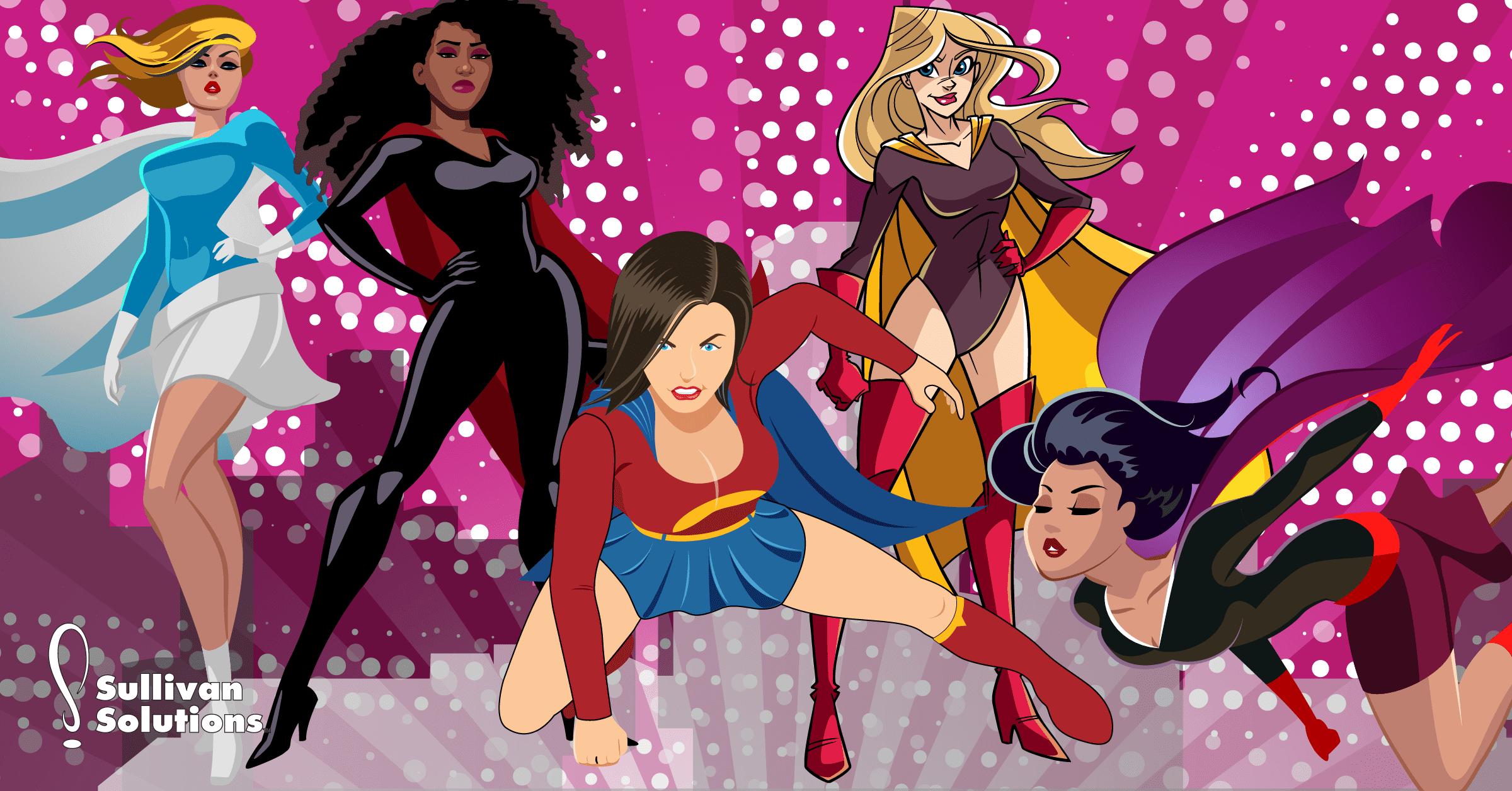 group of marketing superheroes